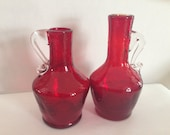 Kanawha Crackle Glass Mini Pitchers Red EPSTEAM