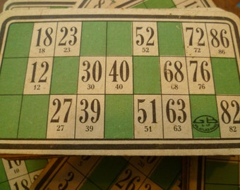 French Antique  Heavy Card Bingo or Loto Number Sheets. 60 +