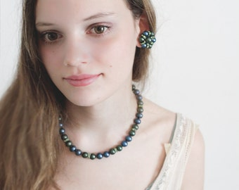 Beaded Green and Blue - Vintage Jewelry Set