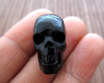 Hand Carved  flat back 3-D  Skull , Horn Carving, Not drilled, Jewelry making  supplies S3850