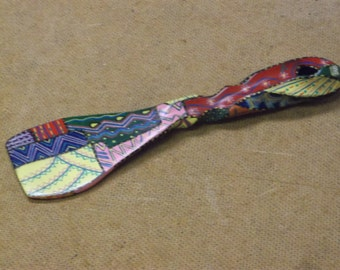 Vintage Hand Painted Wooden Spoon,1960's