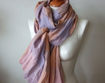Linen oversized scarf, long linen scarf, plaid chunky scarf, pale pink and blue blanket scarf, extra large spring scarf
