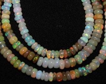 Ethiopian Opal Beads 15 Pcs Nice Flashy Quality 4-7mm Opal Rondelle Beads Loose Semiprecious Gemstones Take 10% Off Opal Jewelry Supplies