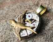 Sparrow Steampunk Watch Pendant, Two Tone Sparrow Steampunk Pendant, Recycled Watch Pendant