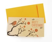 Robin in winter tree with berries  - Set of 3 Christmas cards