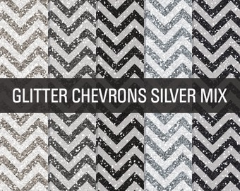 80% OFF Sale Glitter Digital Paper Silver Glitter Chevron Textures Printable Paper Pack