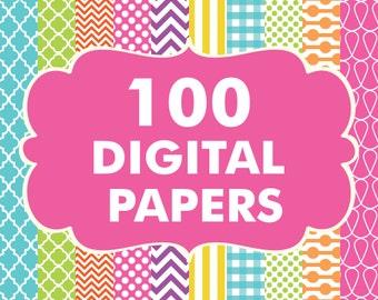 Sale 100 Digital Paper Pack Set MEGA Pack of 100 Chevron Gingham Polka dots Quatrefoil Stripes Backgrounds