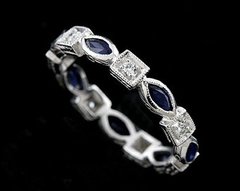 Vintage Style Platinum Diamond Marquize Sapphire Eternity Band Ring 3.2mm Wide