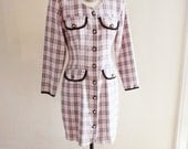 Vintage Blondie and Me Pink and Black Plaid Dress - Medium - Long Sleeved Button Up 1980