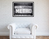 Black and White print of Metro sign in Paris, France.
