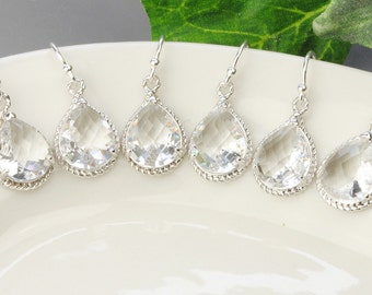 Bridesmaid Jewelry Set of 3 Crystal Teardrop Earrings - Clear Earrings - Bridesmaids Earrings - Bridesmaid Gifts - Silver Drop Earrings
