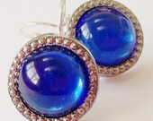 Vintage button earrings. Blue glass buttons with silver beading