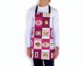 Reversible full apron in pink fabric one side and black jeans the other side