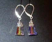 Earrings with Swarovski elements and sterling silver leaver back wires