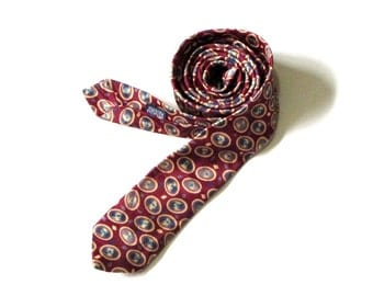 Starcy Narrow Necktie Soft Gold Ovals on Burgundy Navy Green Accents Businessman Executive Menswear Cravats of Distinction