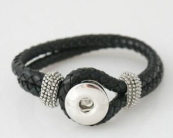 "1 Black Leather Bracelet - 7"" FITS 18MM Candy Snap Charm Jewelry Silver KB0801-21 Cj0017"