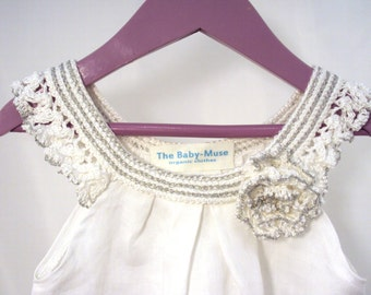 "crocheted sew organic linen baby toddler girl flower dress tunic with lacy edge ""White roses"""