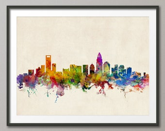 Charlotte Skyline, Charlotte North Carolina Cityscape Art Print (967)