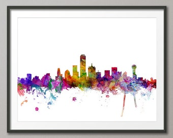 Dallas Skyline, Dallas Texas Cityscape Art Print (1209)