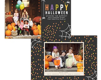 INSTANT DOWNLOAD -  Halloween Card Photoshop template - E1108