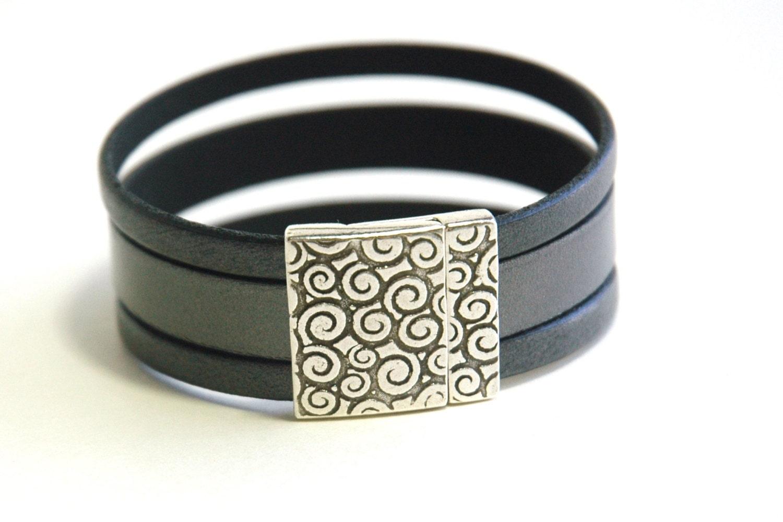 Gay Black Leather Bracelet Band