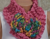 PINK  Winter Scarf. Soft neckwarmer. Christmas gift. Colorful Big bow.