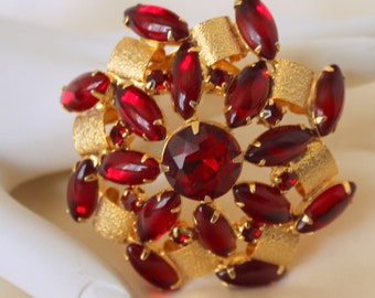 Red Rhinestone Brooch Dome Shaped Pin