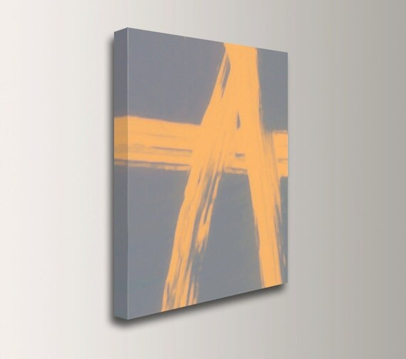 Yellow and Grey Painting - Abstract Canvas Artwork - Modern Canvas Print