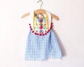 Blue Gingham folk dress