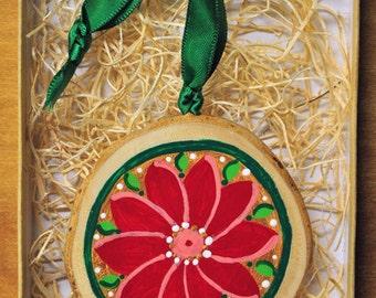 Red/ Gold Poinsettia Ornament