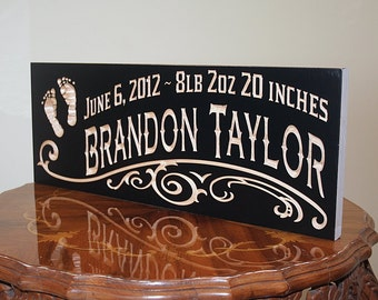 Newborn Baby Sign, Baby Name Sign, Baby Shower Gift, Newborn Gift, New Baby Gift, Nursery Sign, Benchmark Custom Signs, Maple FP