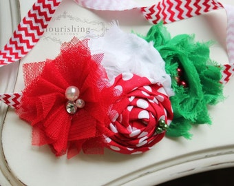 Chevron Christmas headband, holiday headbands, newborn headbands, red headbands, red and green headbands, photography prop