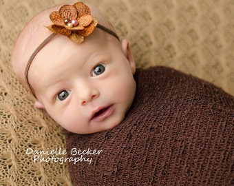 Brown hydrangea flower headband, baby flower headbands, newborn headbands, photography prop