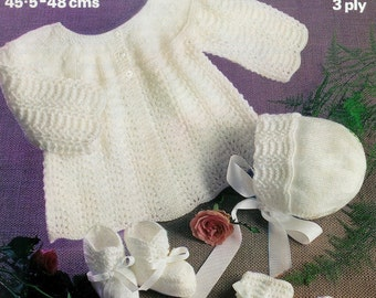 Baby Matinee Jacket Bonnet Mittens and Bootees in 3 ply for Sizes 18 & 19 ins - Marriner 1617 - pdf of Vintage Knitting Patterns