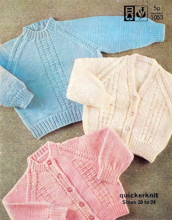 Knitting Pattern Cardigan 8 Ply : Baby Sweater/Cardigans and Jumper in QK 8 ply for sizes 20