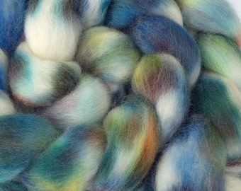 Hand Dyed BFL Combed Top, 4oz in Verdigris