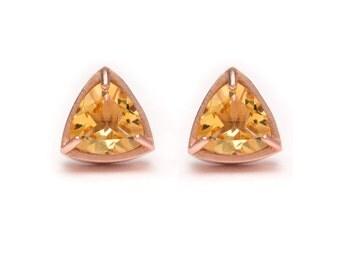 Trillion Cut Studs - Rose Gold Stud Earrings - Citrine Studs - Gemstone Stud Earrings - Prong Set Studs with Bezel Rim