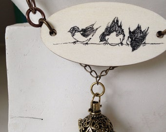 Three Birds on a Wire necklace