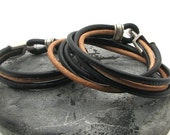 FREE SHIPPING Anniversary Gift, Men-Women leather bracelet. Couple Brown and natural leather multi strand bracelet with silver plated clasp
