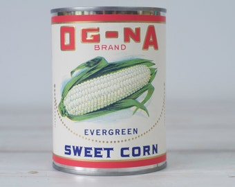 OG NA Brand Sweet Corn E H Rowley Tin with Paper Label NOS Advertising Can