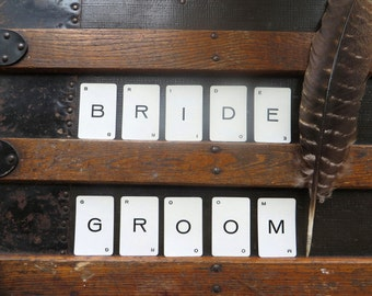 Vintage alphabet cards spelling BRIDE and GROOM