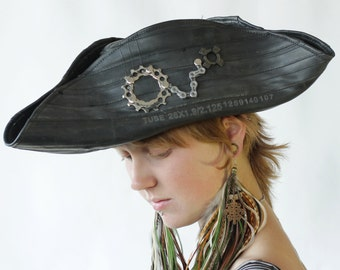 Recycled Bike Tube Tricorne Pirate Hat - MADE TO ORDER
