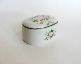 White Porcelain Trinket Jewelry Box, Mid Century Floral Design Trinket Jewelry Box, Perfume Tray Vanity Dresser Decor