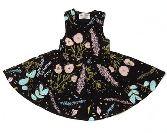 Desert Floral Twirling Dress in Blue Mint, Pale Pink and Yellow Ochre on Black