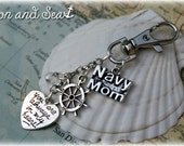 US Navy Mom always in my heart  beaded charm key or purse clip by Son and Sea free US shipping
