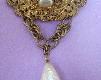MIRIAM HASKELL Opulent Baroque Pearl Tear Drop Brooch