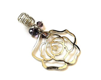 Dreadlock Jewelry - Silver Oversized Open Rose Loc Jewel [SEE NOTE & TIP in Description]