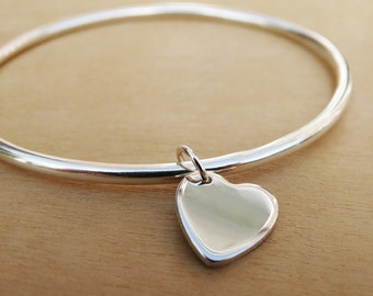 Solid Silver Bangle & Heart - Sterling Silver