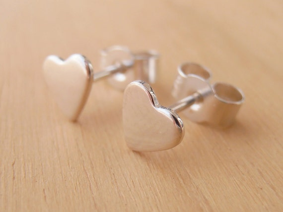 Tiny Silver Heart Stud Earrings - Shiny Finish - Sterling Silver