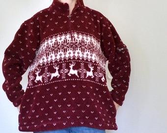 Vintage Christmas Sweater Dark Red Burgundy Reindeer, White Snowflakes Holiday Winter Long Sleeve Women Zip Neck Pullover XL Faux Curly Wool